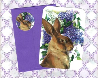Note Cards, Spring Lilacs, Rabbit, Stickers, Rabbit Card, Lilac Card, Spring
