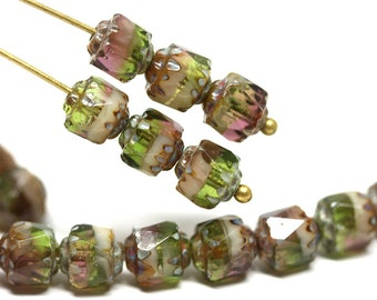 6mm Fancy Cathedral czech glass beads Mixed Purple Green color Picasso fire polished round beads 20Pc - 0647