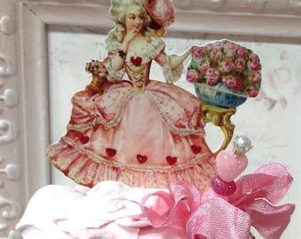 Marie Antoinette Art Doll, Spool Doll, Valentine, Decor, Doll, Altered Art Doll, Art Doll,  Marie Antoinette, Altered Art, Altered Doll,