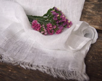 100% White Linen Scarf, Eco Linen, Many Color, Eco Scarf, Women, Men Accessories