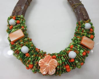 Handcrafted Beaded Horseshoe Art-(Orange Blossom) - Free shipping in US