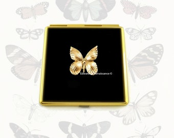 Butterfly Square Compact Mirror Inlaid in Hand Painted Black Onyx Enamel Art Nouveau Insect with Personalized and Color Options