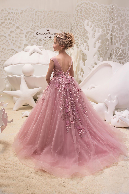 Blush color rosa niña de las flores vestido de fiesta de