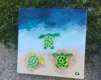 Three Green Sea Turtles Painting