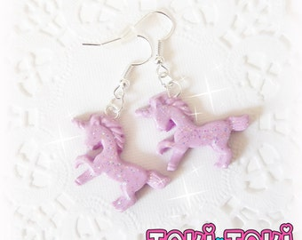 Purple Unicorn Earrings, Kawaii Earrings, Fairy Kei Jewelry, Small Purple Earrings, Tiny Dangle Earrings, Simple Earrings, Modern Earrings