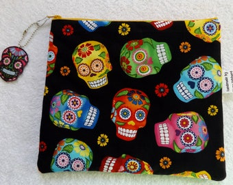 Cute sugar skull pouch, it is very durable and softCan be used as cosmetic bag or travel bag.