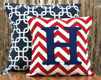 Monogrammed Red Chevron Throw Pillow Cover - Nursery/Kid Sized