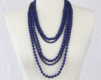 Multi Strand Statement Necklace Navy Blue Multi Layered Necklace Beads Long Necklace Dark Blue Statement Necklace