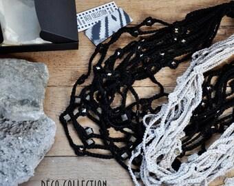 Collana multifili in cotone, collana girocollo, collana uncinetto, collana con applicazioni alluminio, fatta a mano in Italia