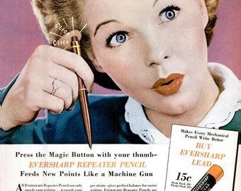 1946 Eversharp Pencil & Old Forester Liquor Ad Vintage Office Decor Editor Writer Author Secretary Teacher Boss Gift Retro Woman Wall Art
