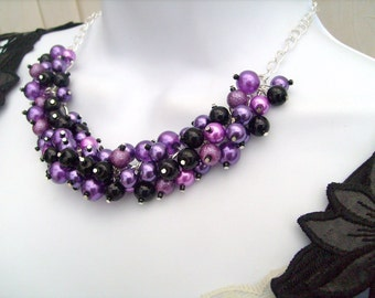 Purple and Black Beaded Necklace, Purple Bridesmaid Jewelry, Cluster Necklace, Chunky Necklace, Bridesmaid Gift, Bridesmaid