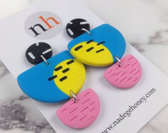 Polymer earrings - big statement jewelry - semicircle earrings - big bold earrings -  geometric earrings - funky dangles - chunky earrings