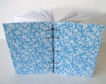 Blue and White Flowers Bullet Journal Floral Fabric Covered Sketchbook Handmade Notebook Coptic Bound Book 100 Pages Hardcover