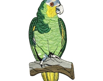 ID 0621 Green Parrot Patch Pet Sit Branch Exotic Embroidered Iron On Applique