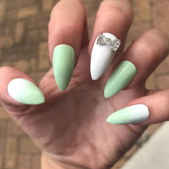 Mint Stiletto Nails Ombre fake Nails Rhinestone Bow Pointy