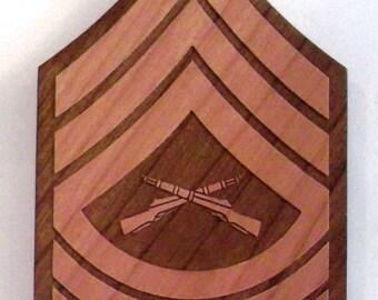 USMC Master Sergeant Insignia Wooden Fridge Magnet