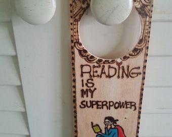 Unique door knob hanger, bookworm accessory, knob hanger,