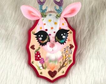 Rainbow Deer Teacup Faux Taxidermy