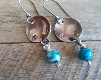 Blue and Copper Earrings - Stamped Copper Earrings - Copper and Silver Earrings - Copper and Sterling Jewelry - Copper Disc Earrings