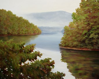 Calm Waters at Lake Jocassee Landscape Oil Painting