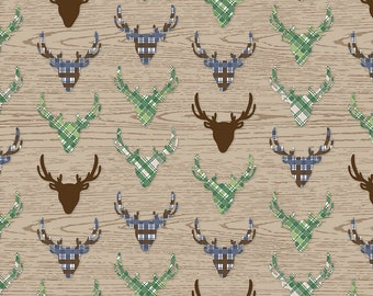 Riley Blake Great Outdoors Deer/Tan/Cotton/Fabric/Sewing/Quilting