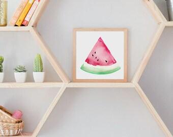 Watermelon Watercolor Painting - Original, Fruit, Pink, Watercolour, Paint, Kitchen Art, Wall Art, Summer, Spring, Present, Colourful