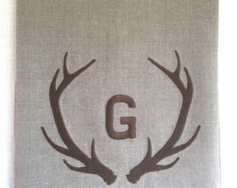 Personalized Linen Tea Towel, Guest Towel, Hand Towel.   Antler Embroidered Towel.  Hostess Gift.  Rustic Decor.  Christmas Gift.
