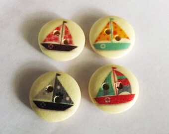 Sailboat buttons 10 boat buttons 15.0mm 2 hole wood sail boat button