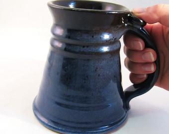 Blue Stein - Renaissance - Blue Tankard - 22 oz Stein - Big Coffee Mug - Handmade Pottery - Black and Blue Stein - Pottersong Stein
