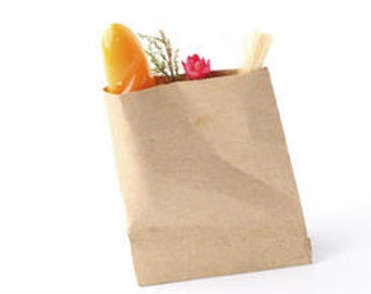 Miniature Paper Bag with Bread and Flowers