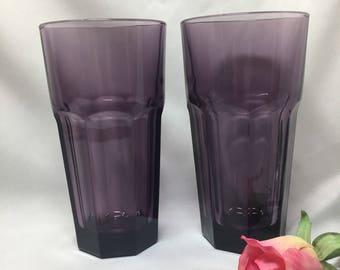 Libbey Duratuff Purple Gibraltar Iced Tea Tumblers  - set of 2