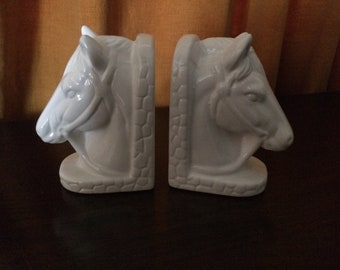 Vintage Basic White Ceramic Horse Head Bookends