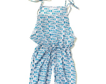 Cotton jumpsuit, Organic jumper, girl jumpsuit, water cups jumpsuit, cups of water print jumpsuit, Trendy girl clothes, Girl summer fashion
