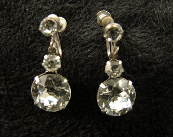 Vintage 1950s Rhinestone Drop Screw Back Earrings
