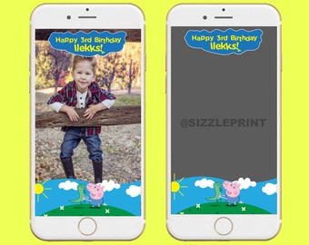 PEPPA PIG GEORGE Geofilter Plus Family & Friends Message   Custom Personalized Snapchat Geofilter   Boy Peppa Pig George Birthday Party