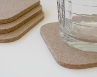 Square Felt Coasters in 5mm Thick Virgin Merino Wool Felt- Sahara