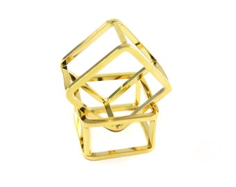 18k Gold Plated Geometric Square Wire Ring - Square (1x) (K501-C)