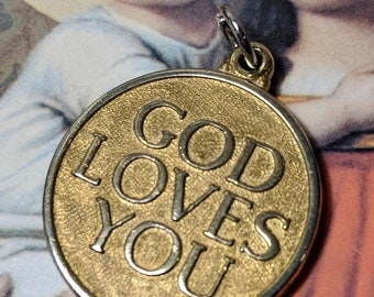 SALE TODAY Large Vintage Gold Tone God Loves You He Really Does Christian Religious Medal Pendant Message Words Inspirational