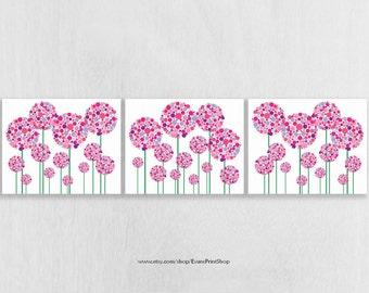 Pink and Purple Nursery Decor - Floral Nursery Art Prints Set of 3 - Art for Girls - Pink and Purple Bathroom Decor - Dorm Wall Art