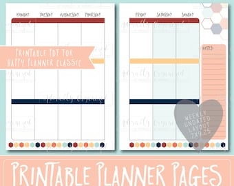 Happy Planner PRINTABLE Weekly Planner Refills / Inserts - 7 x 9.25 | Starfish | Create 365 | Me & My Big Ideas | mambi | Undated