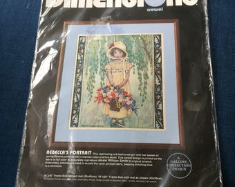 "No count cross Stitchery Kit 1985 Dimensions No Count Cross Stitch"" Rebecca Portrait 14""x16"" in Sealed Package"