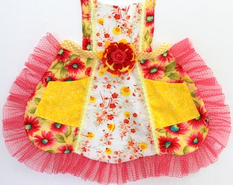 Summer Lightening Bugs Apron, firefly apron, girls apron, toddler apron