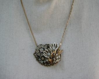Vintage Statement Necklace, Vintage Brooch, Vintage Earrings, Repurposed Upcycled, Reclaimed, VintageAssemblage, Collage Bronze White  /N175