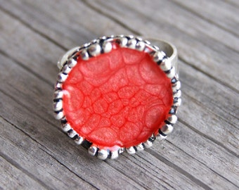 Red handpainted ring, red scarlet hand-painted ring, red resin ring