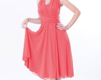 Coral bridesmaid dress with chiffon skirt