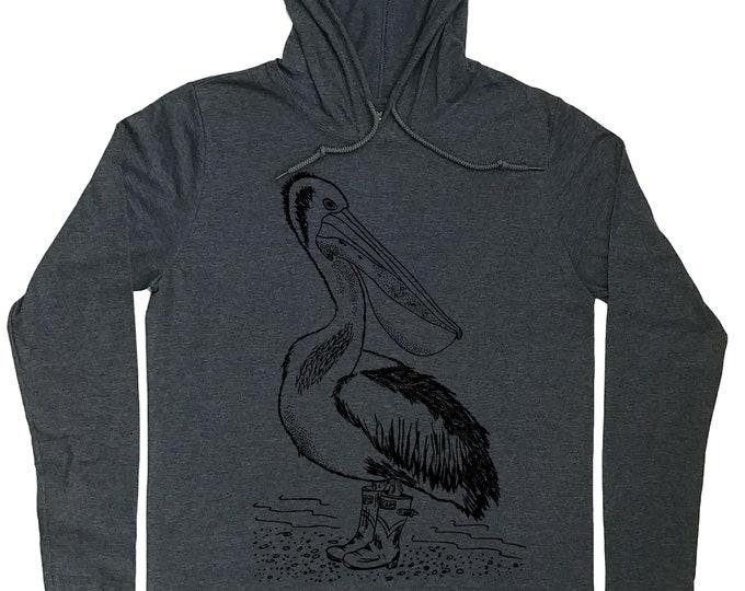 Mens Hoodies - Nautical Hooded T Shirt - Pelican T Shirt - Spring Hoodie - Funny Nautical Shirt - Pullover Hoodie Men - Hoodie T Shirt Men