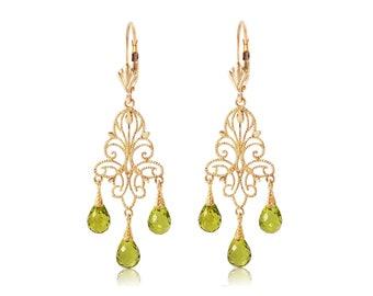 Peridot Earrings/ August Birthstone/Gold Peridot Earrings/Rose Gold Peridot Earrings/ White Gold Peridot Earrings/14k gold peridot earrings