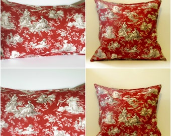 french toile pillows, cottage pillow, country pillow, toile pillow red, rustic pillow cover, french country pillow, red throw pillow