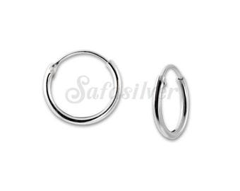 1.2x10mm Plain Hoops Earrings,Silver Hoops