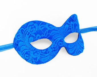 Royal Blue Lace Masquerade Mask -  Lace Covered Venetian Style Halloween Mask - For Masquerade Ball, Prom, Costume Party, Wedding